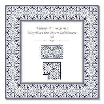 Cornice vintage 3d del caleidoscopio di fiori a croce blu navy