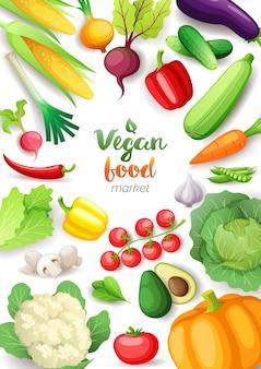 Cornice vista dall'alto di verdure. disegno del manifesto verticale del mercato alimentare vegano. verdure fresche colorate, alimenti sani biologici