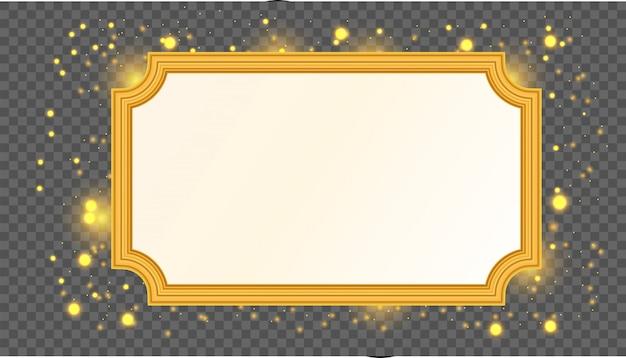Cornice vuota vettoriale oro isolato su sfondo trasparente.