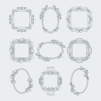 Cornici antiche vittoriane. vector set in stile barocco