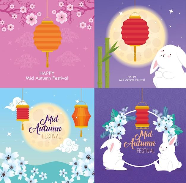 Cornici con design di conigli e lanterne, happy mid autumn harvest festival oriental chinese e celebration theme