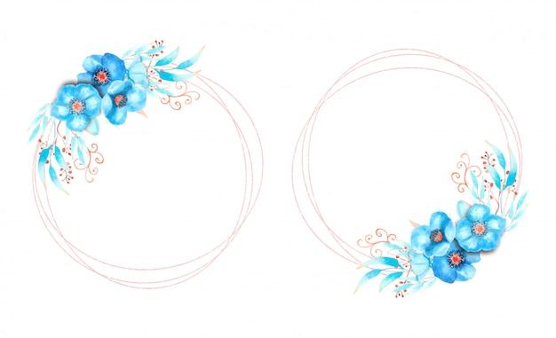Cornici con fiori blu su una cornice rotonda su uno sfondo bianco isolato.