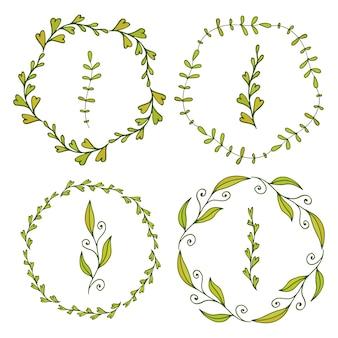 Cornici con foglie carine. decorazione primavera per banner