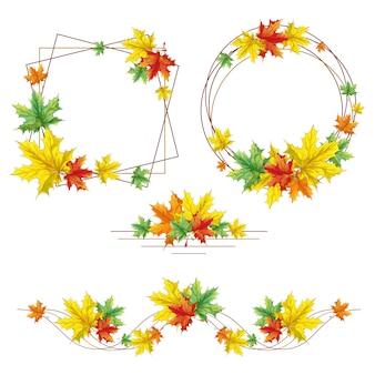 Cornici decorative autunnali, bordo e rosetta di foglie di acero cadute.