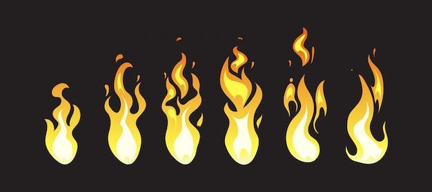 Cornici di animazione di fuoco comico del fumetto per gioco per computer