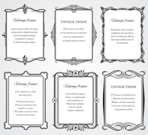 Cornici di confine vittoriano vintage impostato per certificato e design del libro