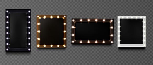 Cornici di forme quadrate con lampadine
