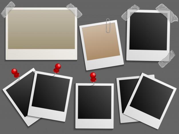 Cornici di foto come set di foto d'epoca vettoriale