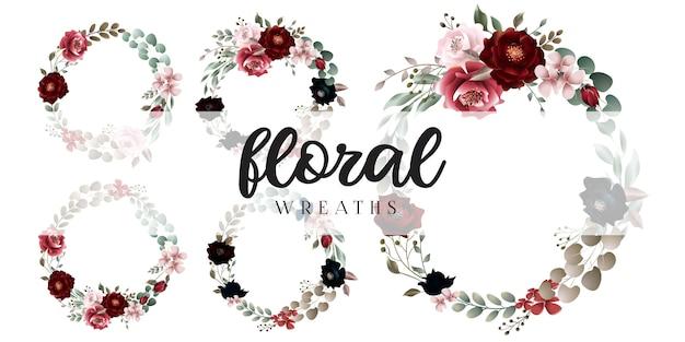 Cornici di ghirlande floreali rosse bordeaux