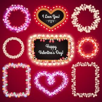 Cornici di luci di san valentino con uno spazio copia set4