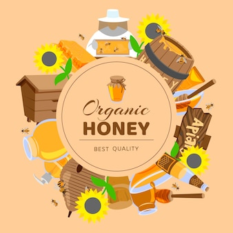 Cornici di miele color cartone animato girasole, botte, alveare, api a nido d'ape