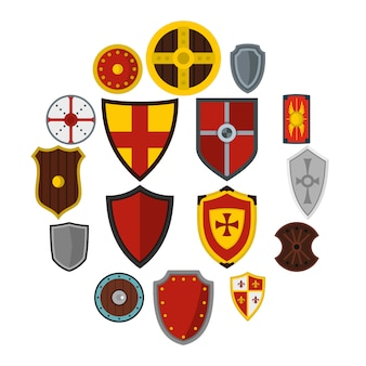 Cornici di scudo set icone piatte
