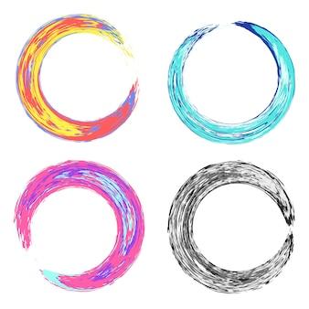 Cornici di texture sgangherate rotonde colorate psichedeliche
