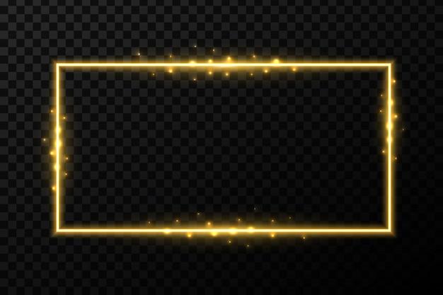 Cornici dorate brillanti con luce.
