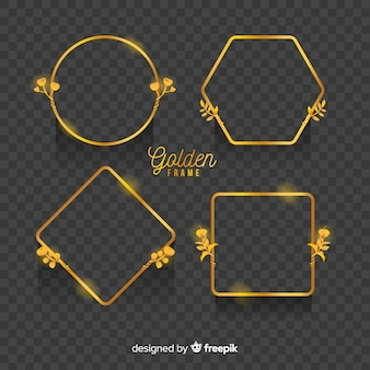 Cornici dorate geometriche con effetti di luce