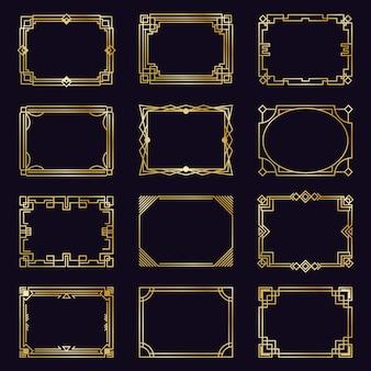 Cornici dorate in stile art deco. confini eleganti moderni dell'oro, struttura araba dell'ornamento decorativo geometrico, icone antiche degli elementi decorativi messe. confine cornice, illustrazione filigrana dorata geometrica