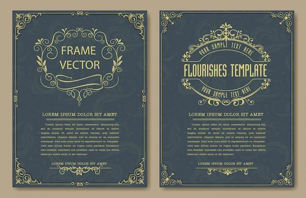 Cornici e bordi vintage decorativi set vettoriale