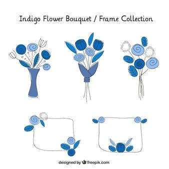 Cornici e mazzi di fiori disegnati a mano