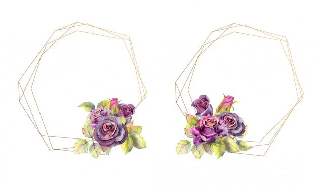 Cornici geometriche in oro con fiori di rosa. stile acquerello