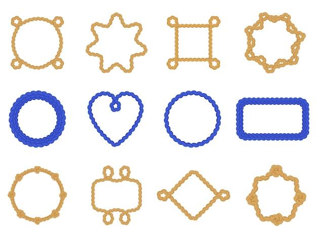 Cornici in corda blu scuro. cornice contorta marina decorativa vintage, bordi di corda barca nautica, set di icone illustrazione cornice nodo marino. nodo e corda intrecciata di forza, cordicella per cavi