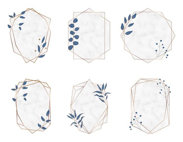Cornici in marmo poligonale geometrico oro con foglie botaniche blu. elementi di design di lusso
