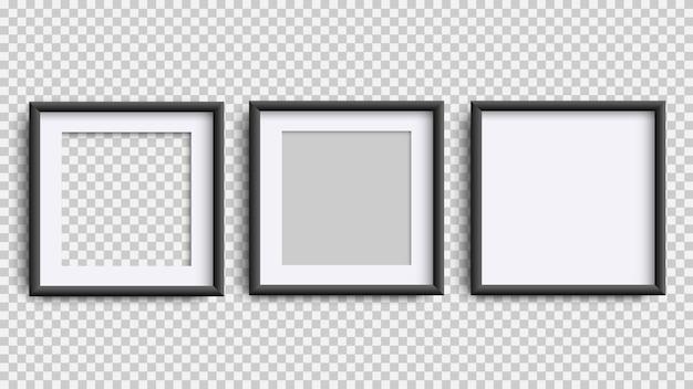 Cornici isolati su bianco, realistico quadrato tre cornici nere impostate