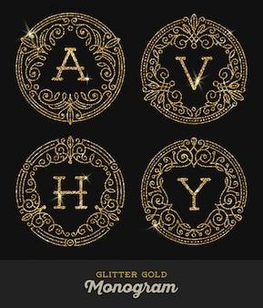Cornici ornamentali in oro glitter con monogramma - illustrazione.
