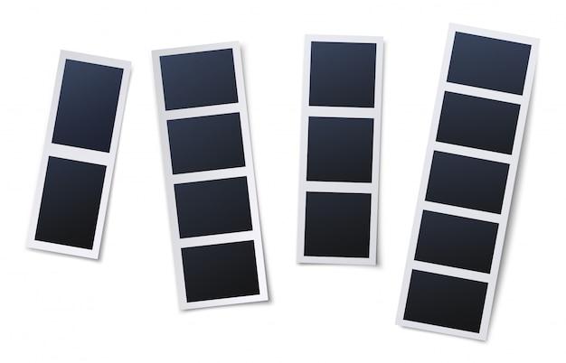 Cornici per cabine fotografiche. set di illustrazione di istantanee vintage, foto istantanee e strisce di fotografie