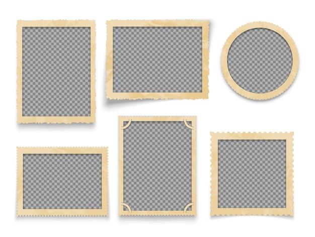 Cornici per foto d'epoca isolato. accumulazione dei bordi dell'immagine antica di vettore