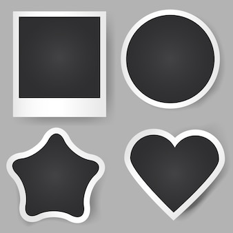 Cornici per foto realistiche di vettore. forme diverse. quadrato classico, stella, cerchio, cuore.