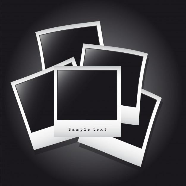 Cornici per foto sopra illustrazione vettoriale backgroun nero