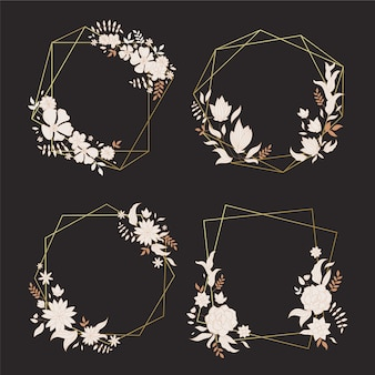 Cornici poligonali con fiori eleganti