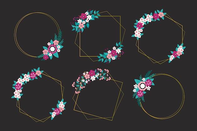 Cornici poligonali dorate con fiori eleganti