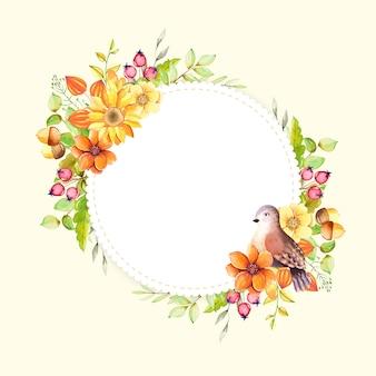 Cornici romantiche dell'acquerello con bei fiori e rami dipinti a mano