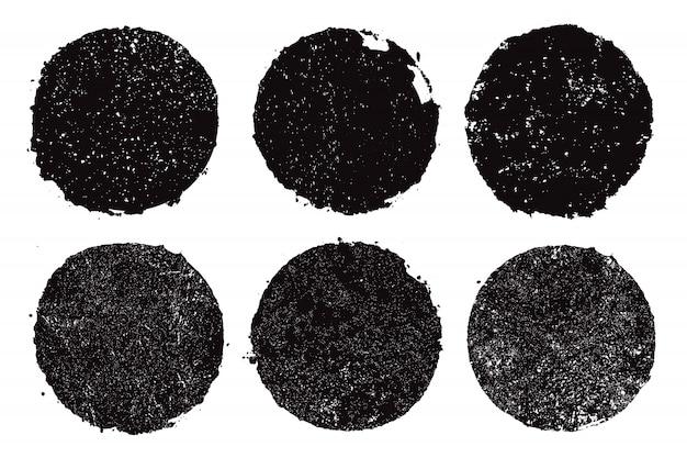 Cornici rotonde grunge nero