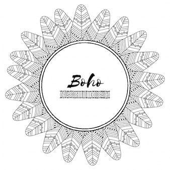 Cornici stile boho con elementi disegnati a mano etnici