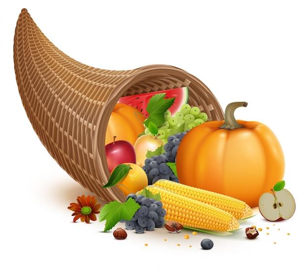 Cornucopia completa per la festa del ringraziamento. ricco raccolto di zucca, mela, mais, uva, anguria