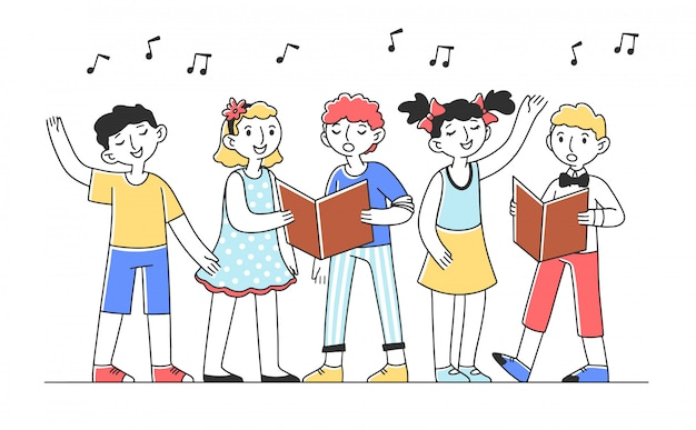 Coro di bambini che canta una canzone allegra