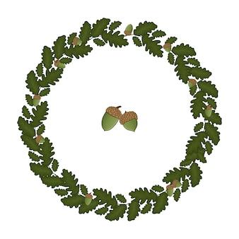 Corona circolare cornice di foglie di quercia. illustrazione disegnata a mano di stile del fumetto. simpatica cornice autunnale per matrimonio, vacanze, ritorno a scuola o card design