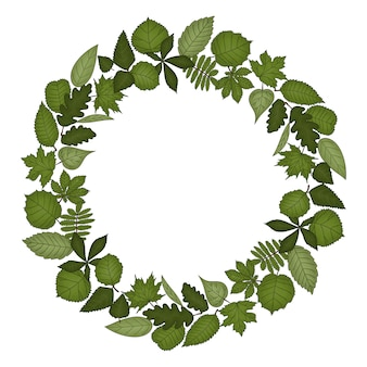 Corona circolare di foglie. illustrazione disegnata a mano di stile del fumetto. cornice carina per matrimonio, vacanze o card design