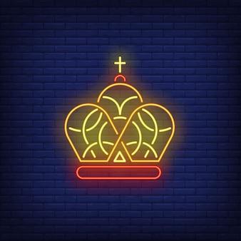 Corona con croce insegna al neon