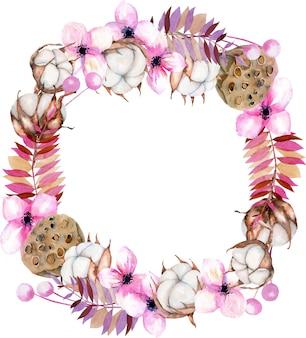 Corona con fiori di cotone acquerello, fiori rosa e scatole di loto