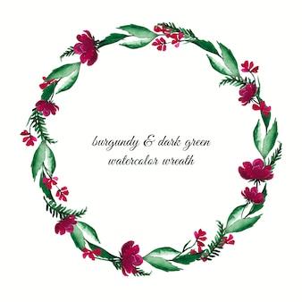 Corona con foglie e fiori verde scuro