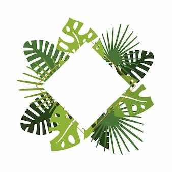 Corona con foglie verdi tropicali, cornice glitter oro e copia spazio