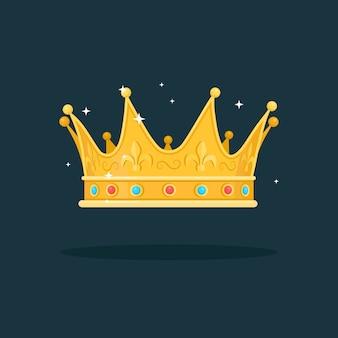 Corona d'oro reale per regina, principessa, re su sfondo scuro. premi per vincitore, campioni, concetto di leadership.