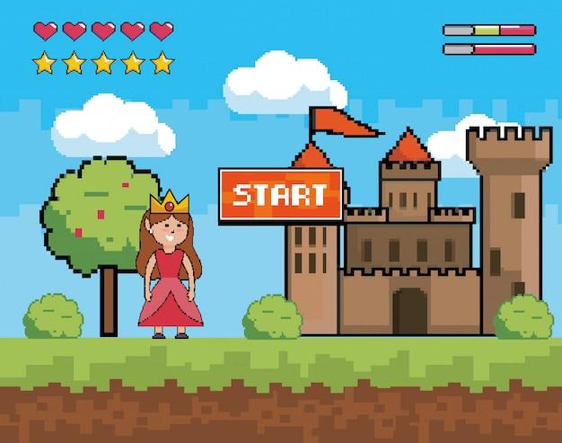 Corona da portare della principessa con castello e messaggio di avviso