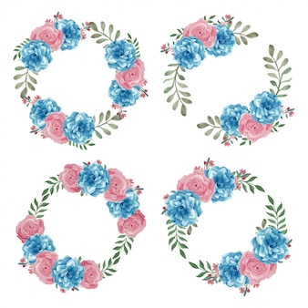 Corona del cerchio del fiore rosa dipinta a mano