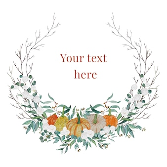 Corona del ringraziamento con zucche e fiori bianchi