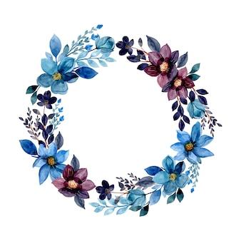 Corona dell'acquerello del fiore blu