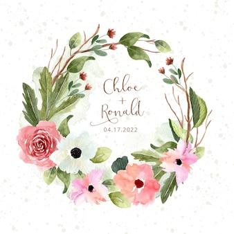 Corona dell'acquerello del giardino floreale rosa verde